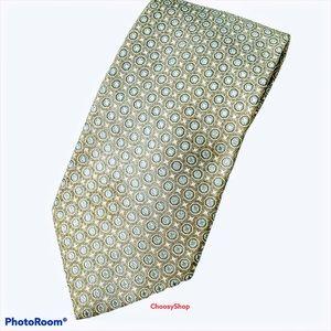 Silver Gray Blue White Accent Silk Paul Stuart Tie